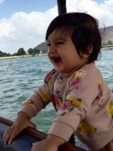 Aanavi enjoying the 'is-ness' of her very first boat ride in Udaipur